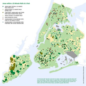 Green Shading Indicates Areas within a 10-Minute Walk of a Park, NYC