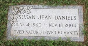 Gravestone of Susan Jean Daniels